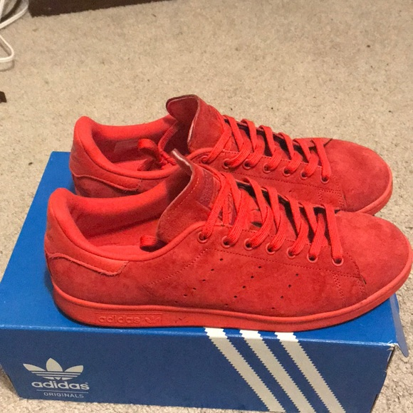 Adidas Stan Smith Red Suede Mens Size 2